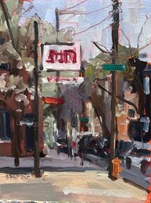 Recent plein air painting Sarah did in Philadelphia outside Da Vinci Art Alliance where she had a show in April. Street scene in oil.